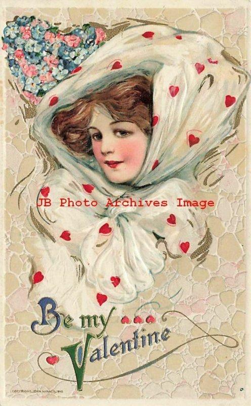 6 Postcards Set, Valentine Day, Winsch 1910, Schmucker, Women with Hearts