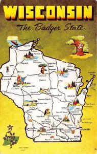 Wisconsin Badger State Postcard~Highways~Hunter @ Appleton~Beer @ Milwaukee~'60s