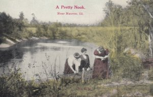 NAUVOO, Illinois, 1900-10s A Pretty Nook, ,Young ladies near pond