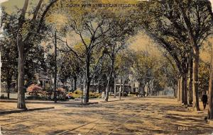 Campello Massachusetts~South Main Street Homes~Tree Lined~Trolley Tracks~1911 PC