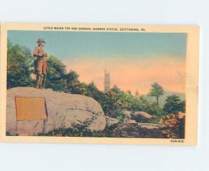 Linen CIVIL WAR STATUE AT LITTLE ROUND TOP Gettysburg Pennsylvania PA F2201