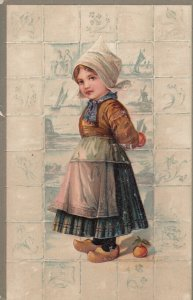PFB #5587; Dutch Girl with Peaches, Tiles, 1900-10s