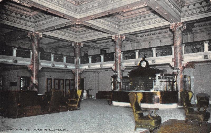 Boise Idaho~Gyehee Hotel~Section of Lobby~Check in Desk~Clock~Key Holes~1908 PC