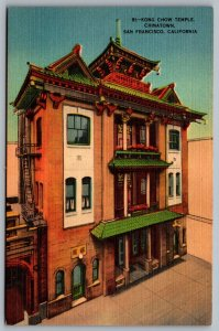 Postcard San Fancisco CA Kong Chow Temple Chinatown Linen B