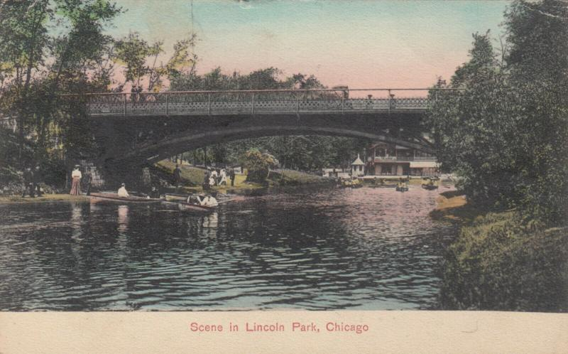 CHICAGO , Illinois , PU-1908 ;  Scene in Lincoln Park, Bridge