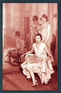 Nostalgia Postcard 1928 Spring Evening Fashions, for Messrs Launder Repro NS37