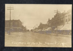 RPPC SPRINGFIELD MINNESOTA DOWNTOWN STREET SCENE VINTAGE REAL PHOTO POSTCARD