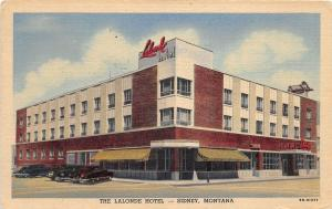 C76/ Sidney Montana Mt Postcard 1937 Linen The Lalonde Hotel Building