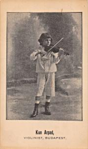 KUN ARPAD~YOUNG VIOLINIST-BUDAPEST HUNGARY POSTCARD 1900s
