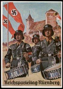 3rd Reich Germany 1936 Waffen SS Drummers Reichsparteitag Propaganda Postc 95441