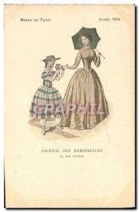 Postcard Old Fashion Headdress Journal Female damselflies Rue Drouot Year 1846