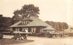 Close-Up of Cannons & Groundskeepers by Library? nr University? RPPC c1910