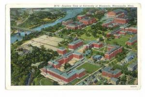 Airplane View of University of Minnesota Minneapolis MN 1940 Linen