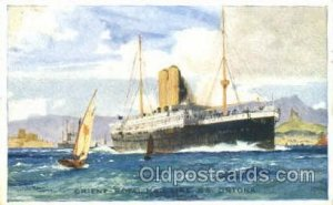 S.S. Ortona Orient Line Ship 1909 light indentation bottom left edge, light w...