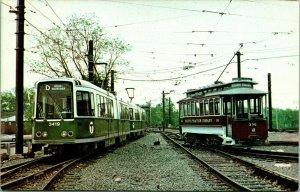 Vtg Postcard Massachusetts Bay Transit New Meets Old 3419 & 396 UNP
