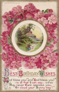 AS: BIRTHDAY, 1900-10s; Best Wishes, Country Scene, Pink Flowers; WINSCH