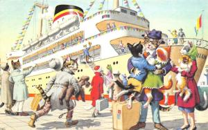 Fantasy Dressed Mainzer Cats~Family on Cruise Steamship~Cat With Poodle~#4935