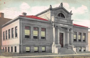 Public Library, Waterloo, Iowa, Early Postcard, Used in 1908