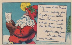CHRISTMAS, 1908 ; Santa Claus Reads Letter