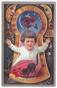 Halloween Black Witch Black Cat Embossed Series #3 Postcard
