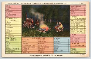 Aitkin Minnesota~Folks Around Campfire~Busy Person Correspondence~1935 Linen PC