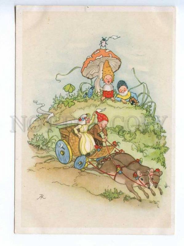 241648 Circus ELF Gnome rat in cart amanita AR Anita Rahlwes