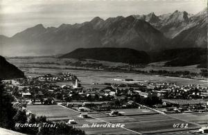 austria, WATTENS, Tyrol Tirol, Panorama mit Nordkette (1960s) RPPC Postcard