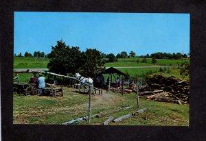 MO Old Sorghum Making Mill Mules Ozarks Missouri Postcard