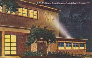 Virginia Roanoke Night Time Scene Roanoke Public Library