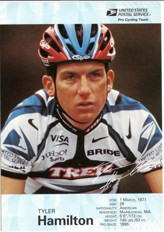 USPS Pro Cycling Team - Post Card - Tyler Hamilton - Mint
