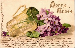VINTAGE FRENCH POSTCARD -  BONNE ANNEE, NEW YEARS, FLOWER VASE