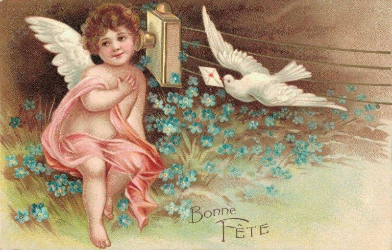 Happy Birthday Vintage Embossed Angel Postcard 03.75