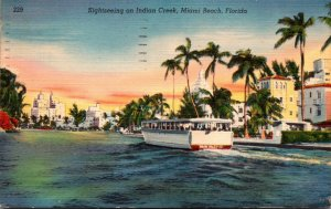 Florida Miami Beach Sightseeing Boat On Indian Creek 1952