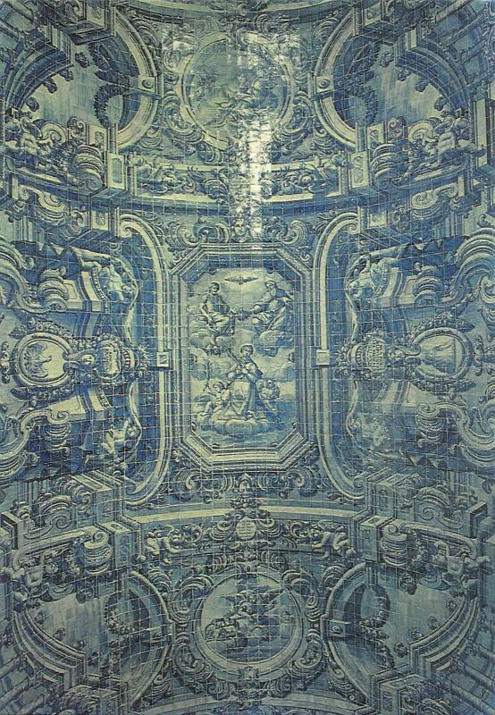 Portugal Almancil Church of St Lourenco Tiles Ceiling Postcard