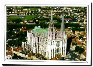 Modern Postcard Chartres Eure et Loir aerial view of the Cathedral XII XIII c...