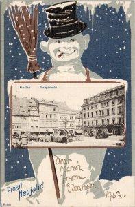 Gotha Germany Haupmarkt Snowman Prosit Neujahr Happy New Year 1903 Postcard F70