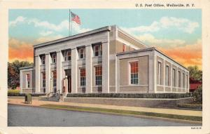 Wellsville New York~US Post Office~Mailbox by Sidewalk~Colorful Sky~1939 Pc