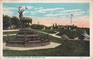 Wisconsin Milwaukee Elk Monument And Juneau Park 1923
