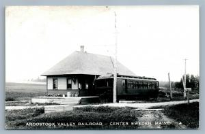 CENTER SWEDEN ME AROOSTOCK VALLEY RAILWAY DEPOT VINTAGE REAL PHOTO POSTCARD RPPC