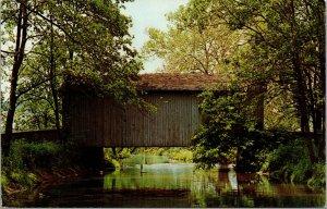 Vtg 1980s Covered Bridge Red Clay Creek Ashland Delaware DE Postcard
