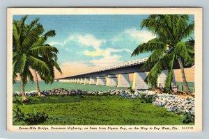 Key West FL, Seven Mile Bridge, Palm Trees, Linen Florida Postcard