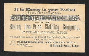 VICTORIAN TRADE CARD Boston Clothier #4 'Blissfully Unconscious...' Man & Woman