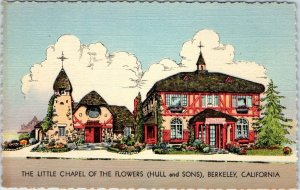 Berkeley CA Postcard Little Chapel of the Flowers (Hull and Sons) Linen UNUSED