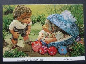 Mecki Hedgehog CHILDREN & EASTER EGG THEME c1970/80's Postcard by Diehl Film 357