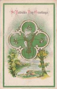St Patrick's Day With Landscape Scene and Gold Harp 1921