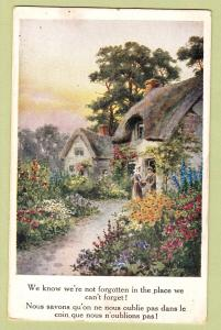 Scenic Country Cottage Vintage Postcard, White Border