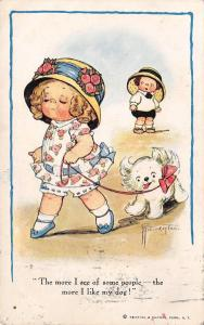 Grace Wiederseim Drayton~Girl With White Puppy~More People? More I Like Dog!