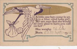 Baby & a stork , PU-1908 ; Birth Notice