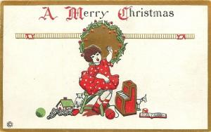 Christmas~Art Deco~Lil Girl Sings~Toy Piano~Gold~Emb~Stecher Litho~Ser 547C