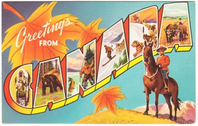 Greetings from Canada Original 1940s Large Letter Postcard Maple Leaf RCMP #2